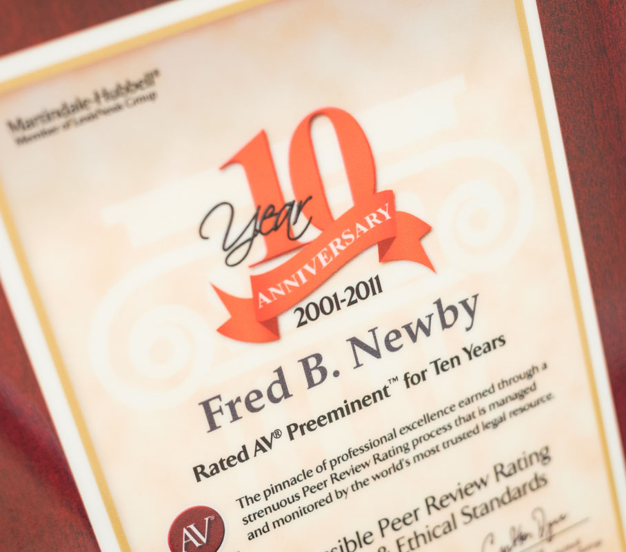Fred Newby rated AV Preeminent for 10 years